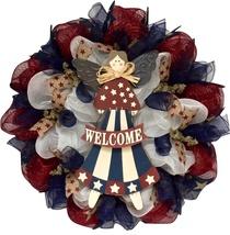 Americana Patriotic Angel Handmade Deco Mesh Welcome Wreath - $89.99