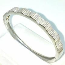 Neu Weißgold Lagen auf 925 Sterling Silber Oval Hochzeit Armreif Bracele - $229.71