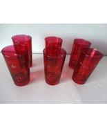 Set of 6 Vintage Flashed Red Etched Leaf Pattern Glasses - $9.89