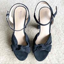 Mossimo Black Strappy Faux Suede Sandal Heels Sz 6 - $11.83