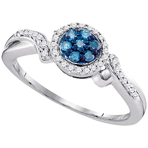 Primary image for The Diamond Deal 10kt White Gold Womens Round Blue Color Enhanced Diamond Cluste