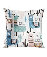 UPOOS Throw Pillow Cover Alpaca with Llama Cactus and Creative Childish ... - $13.09