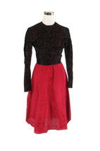 Maroon red black textured shimmery beaded trim A-line vintage dress XS - $49.99