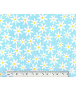 Daisy Fabric, cotton aqua floral quilting quilt... - $9.92