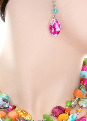 Four Strand Motley Beaded Necklace Set