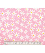 Daisy Fabric, cotton pink floral quilting quilt... - $9.92
