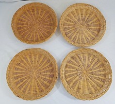 """Vtg Set of 4 Bamboo 9"""" Paper Plate Holders Picnic Barbecue Cookout Camping - €5,21 EUR"""
