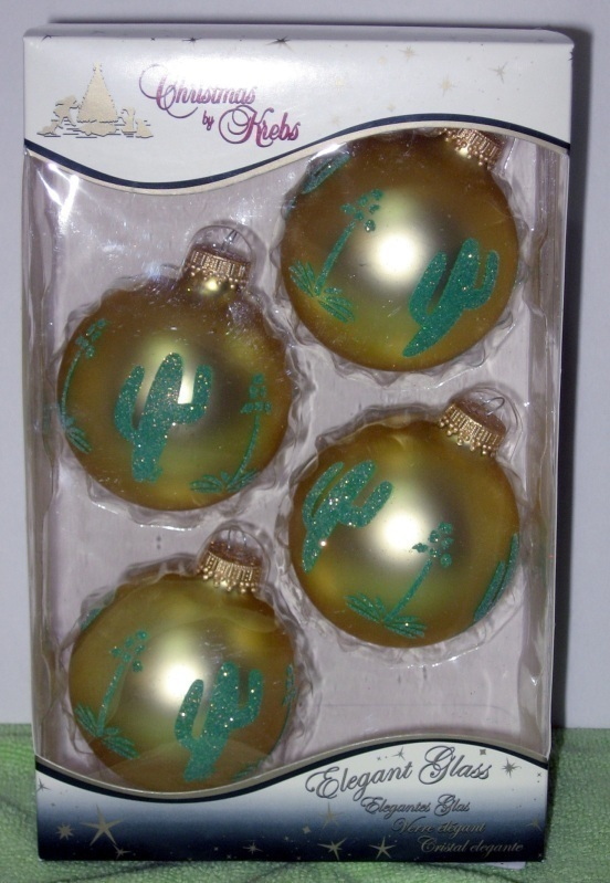 Primary image for Gold Velvet w/ Cactus Glass Christmas Ornaments Krebs