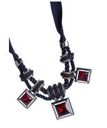 $158 Kenneth Cole 'Modern Garnet' Red Twisted Knot Square Crystals Neckl... - $82.50