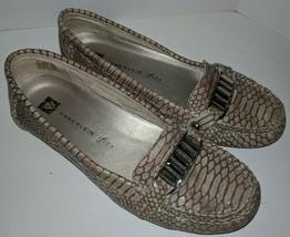 Anne Klein iFlex Near Me Women Loafers Size 7 M Beige / Tan Snake Print Leather - $24.74
