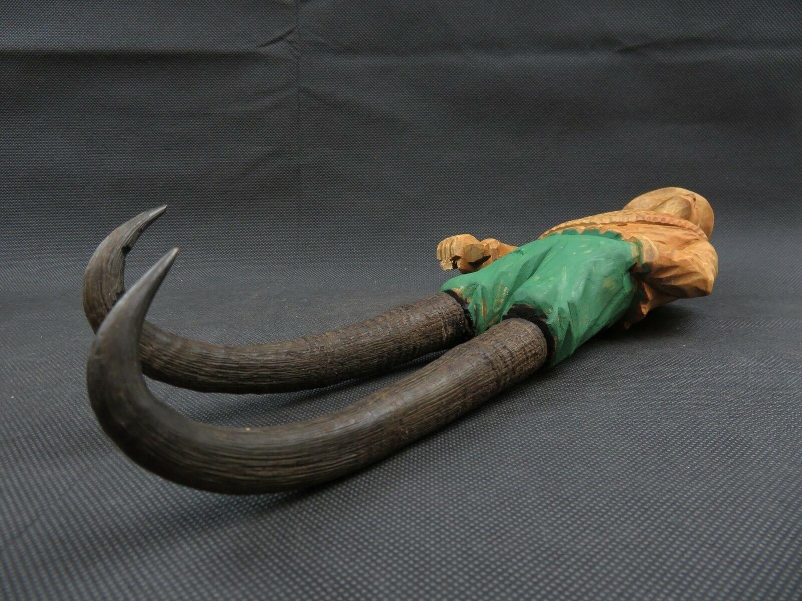 Antique 1900 German Black Forest Carved Wood Figural Chamois Horns Hook Rack image 9