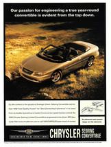 1999 Chrysler Sebring Convertible Magazine Print Ad - $4.95