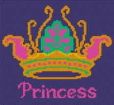 Latch Hook Rug Pattern Chart: PRINCESS CROWN - EMAIL2u - $5.75