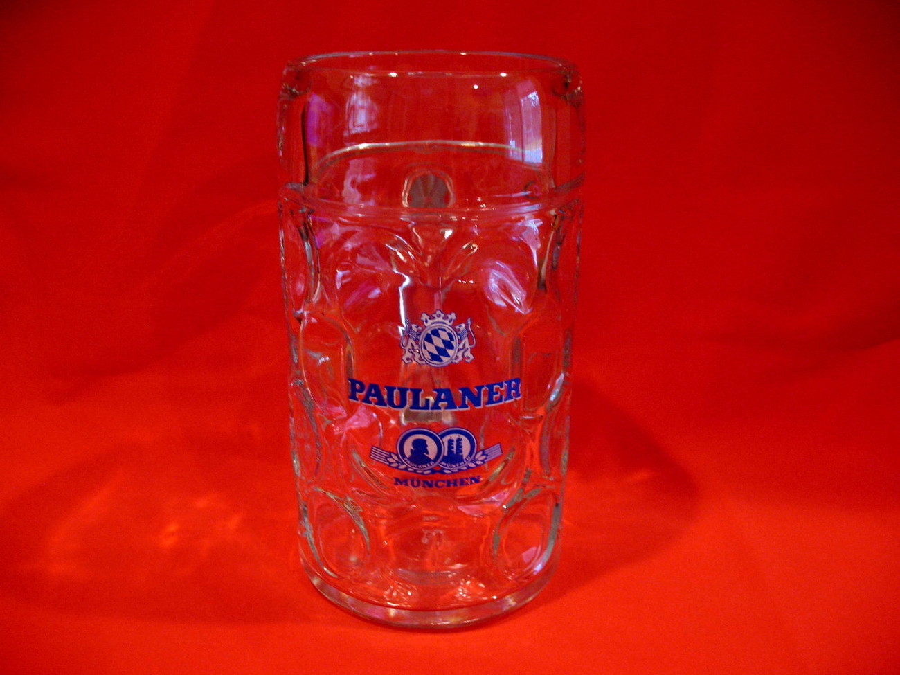 Primary image for PAULANER Beer Mug Glass Stein Munchen MUNICH GERMANY Vintage Souvenir HUGE Size