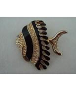 Goldtone Black Enamel Rhinestone Angel Fish Brooch Pin - $7.50