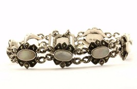Vintage Floral Design Mother of Pearl Marcasite Bracelet Sterling Silver... - $51.99