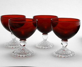 4 Anchor Hocking Royal Ruby Bubble Footed Cocktail Glasses Early American - $29.02