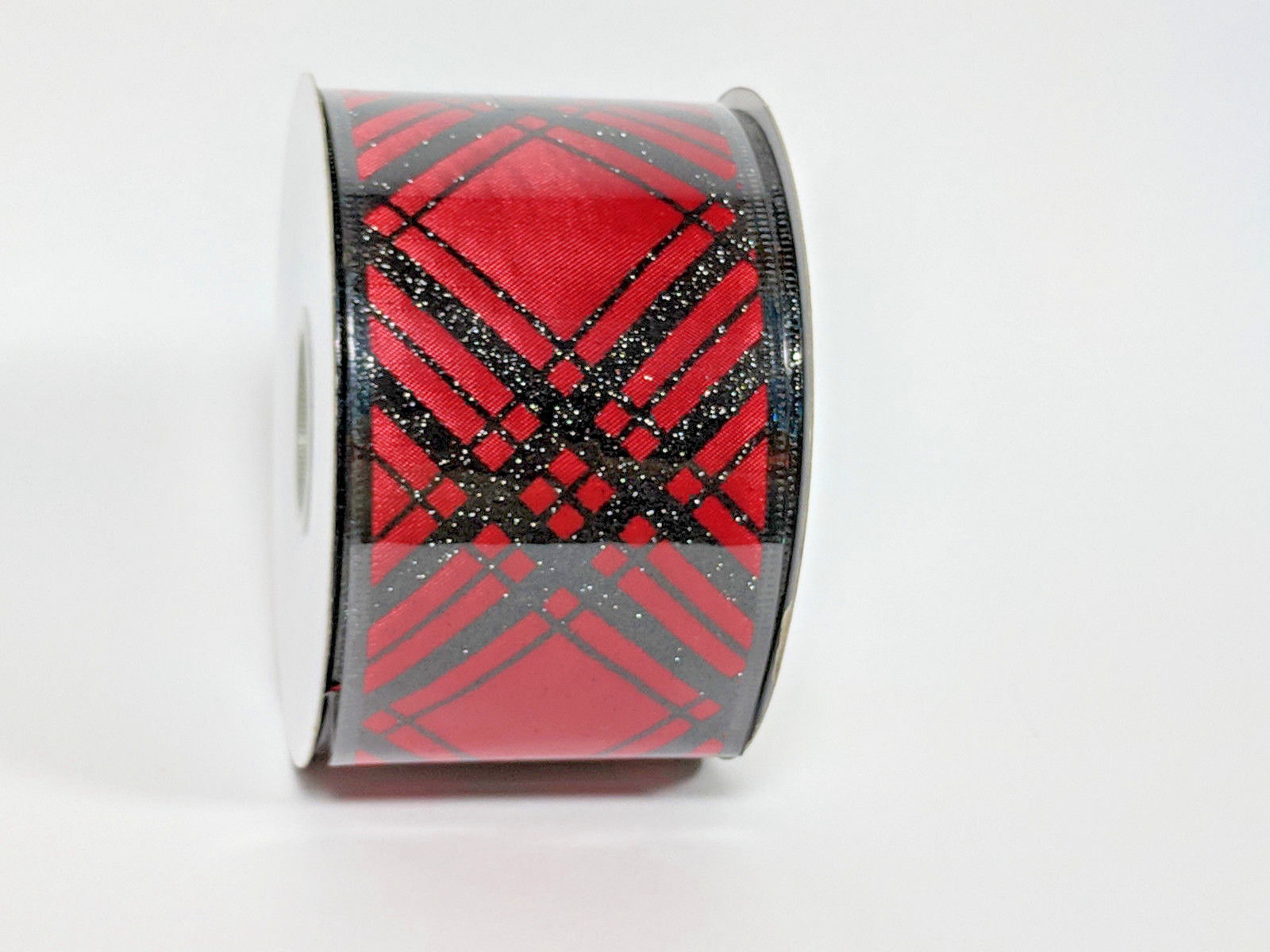 "Primary image for Roll of Wired Ribbon for Holiday Christmas 75' by 3"" Red background Black Plaid"