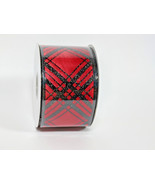 "Roll of Wired Ribbon for Holiday Christmas 75' by 3"" Red background Blac... - $23.76"