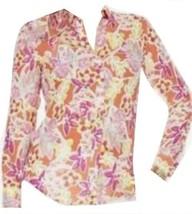 Chaps by Ralph Lauren Womens Plus 1X Georgette Floral Coral Button Blous... - $39.99