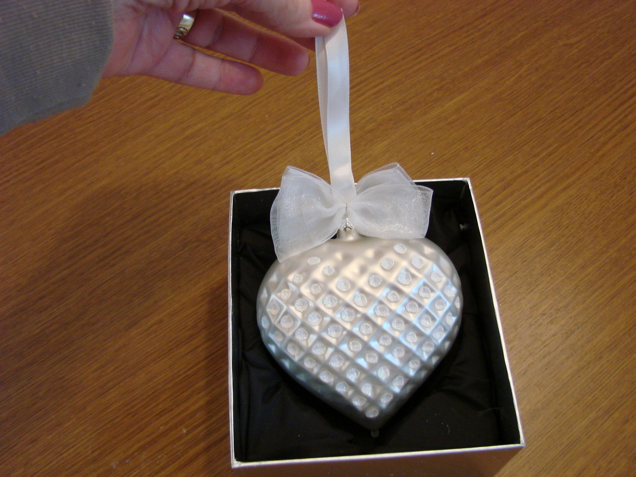 Jeweled Blown Glass Pearl White Heart Ornament New in Box