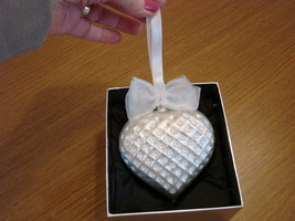 Jeweled Blown Glass Pearl White Heart Ornament New in Box image 1