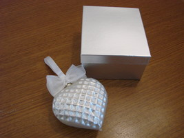 Jeweled Blown Glass Pearl White Heart Ornament New in Box image 4
