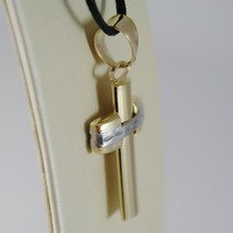 18K YELLOW WHITE GOLD CROSS SQUARED STYLIZED FINELY WORKED 1.26 IN MADE IN ITALY image 2