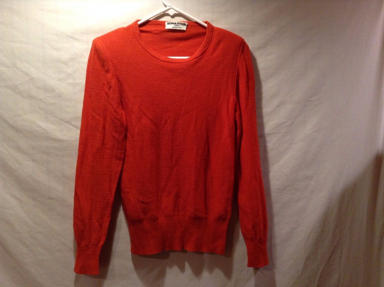 Sonia Rykiel Paris Cute Red Sweater w Shoulder Pads Sz 36