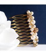 Gold Bouquet Hair Comb - Swarovski Crystal Pearl Bridesmaid - $29.00+
