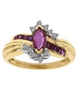 0.45 Carat Ruby & 0.10 Carat Diamond Ring 14K Yellow Gold - $385.11