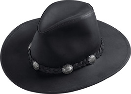Henschel Dakota Cowhide Cowboy Hat Leather Band Conchos Made In USA Blac... - $74.00