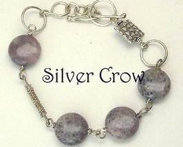 Purple Moss Gemstone & Argentium Sterling Silver Chain Style Bracelet - $24.99