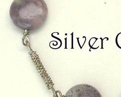 Purple Moss Gemstone & Argentium Sterling Silver Chain Style Bracelet