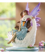Fiber Optic Fairy Perched On Swan Tablet  - $19.95