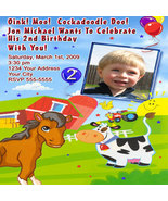 Farm Animal Barn Yard Petting Zoo Birthday Party Invitations - $19.99