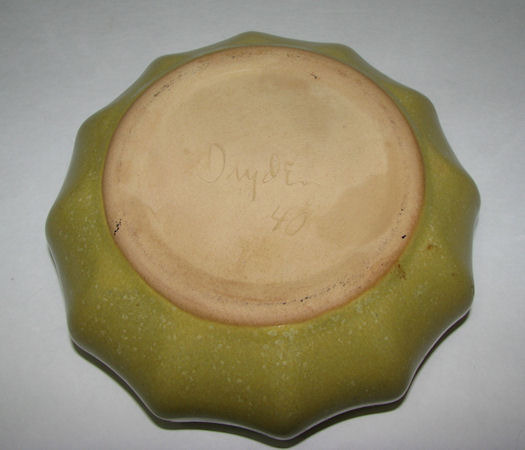Vintage Dryden Art Pottery Bowl Planter Mustard Yellow/Green