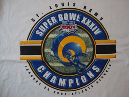 NFL St. Louis Rams Football Superbowl XXIV 2000 Sports Fan White T Shirt... - $21.87