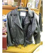 Ladies womens Black leather jacket VINTAGE Hurricane Hawkins Large LG L - $42.54