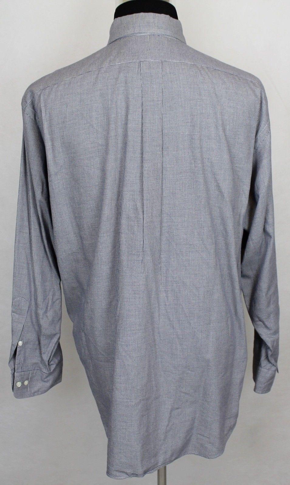 RALPH LAUREN Yarmouth Mens LS Blue Micro-Check Button Front Shirt sz 17-35