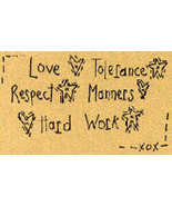 Love Tolerance Respect OOP Primitive Stichery pattern tea dy - $3.00