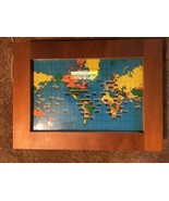 Vintage Howard Miller 1959 World Time Zone Map Electric Clock Lighted Fr... - $98.99