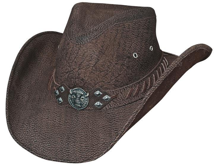 Primary image for Bullhide American Buffalo Cowboy Hat Genuine Buffalo Leather Chocolate Brown