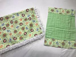 Homemade Receiving Blankets Set Zoo Animal Green Giraffe Monkey Lion 31x... - $21.77