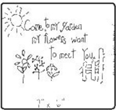 Come To My Garden OOP Primitive Stichery pattern tea dyed - $3.00