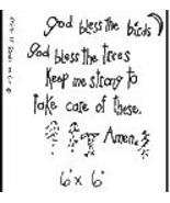 God Bless The Birds OOP Primitive Stichery pattern tea dyed - $3.00