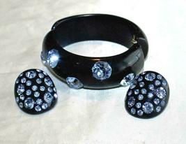 Vintage Weiss thermoplastic Blue rhinestone clamper bracelet earrings set - $98.99
