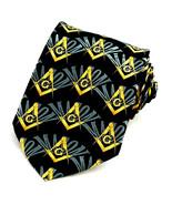 Mason's Compass & Square Men's Necktie Mason Black Neck Tie Freemason New - $15.79