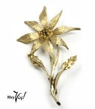 """Vintage Pin - Detailed Gold Flower Brooch Signed Dodds - 2 3/4"""" Long - H... - $14.00"""