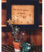 You Are As Welcome OOP Primitive Stitchery wood flowers patt - $3.50